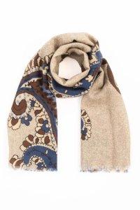 Sand pure Italian wool paisley scarf