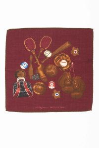 Burgundy pure Italian wool gentleman's games pocket square