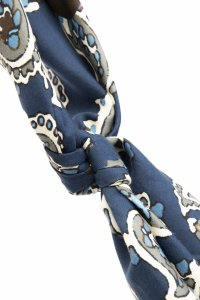 Blue ultra-soft silk & cotton paisley bandana foulard