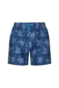 Blue turtles polyester denim textures printed swimwear
